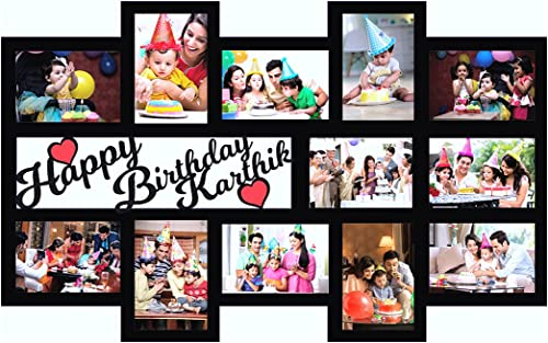 GiftsWale Happy Birthday Your Pictures and Names Customized Collage Photo Frame   Personalized With 12 Images And Tex...