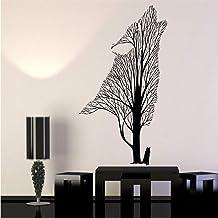 Llegada moderna vinilo tatuajes de pared árbol aullido lobo cuervo animales Gothick estilo pegatinas de pared decoración para el hogar sala de estar 53 * 89 cm