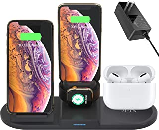 Hisri 4 in 1 Wireless Charging Station Dual 15W Qi Fast wireless charger Dock for Airpods Pro Apple Watch 5 4 3,Charging Stand Compatible iPhone 11 Pro X Xs Max XR 8,Samsung Galaxy S10 S9 Buds (Black)