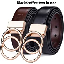 "MDZZ Belt Unisex Belt Leather 1.3"" Reversible 2 In 1 Rotated 2 Rings Gold Buckle Belts For Women And Men 140cm (Waist 125cm) oo-BK Coffee"