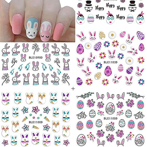 Easter Nail Art Decals Stickers Nail Rhinestones Flash Matte Easter Nail Art Bunny Easter Egg Chick Nail Design Stickers 3D Cartoon Pattern Designs for Women Girls Kids 12 Sheets