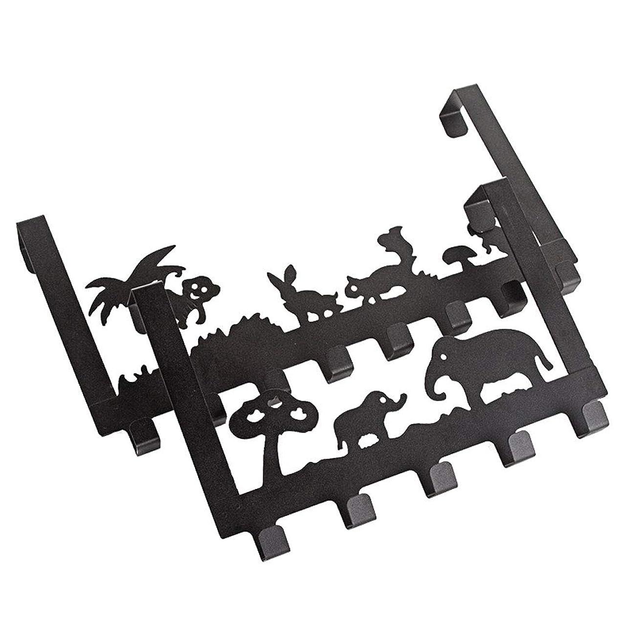 人間トレーニング複合ZXW コートラック- 現代ミニマルクリエイティブ鍛造アイアンドアフック、ホームシームレス漫画ハンガーコートフック (色 : ブラック, サイズ さいず : H20.5xL30cm)