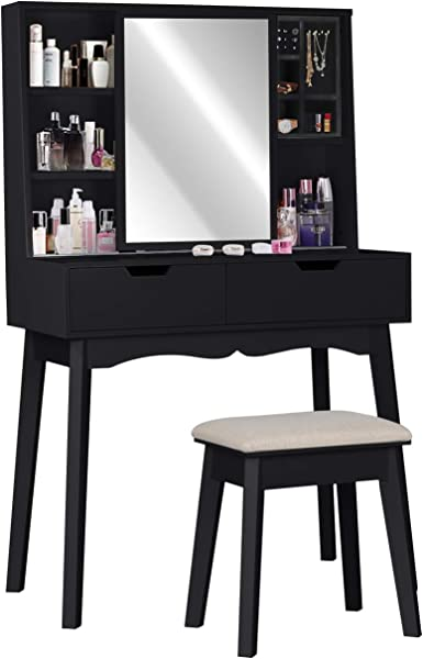 Vanity Table Set With Mirror And Makeup Organizer Dressing Table 2 Large Drawers With Sliding Rails Storage Shelves Jewelry Box Cushioned Stool Makeup Vanity Desk
