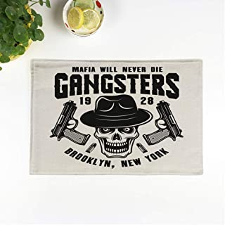 rouihot Set of 6 Placemats Mafia Emblem Label Gangster Skull in Fedora Hat 12.5x17 Inch Non-Slip Washable Place Mats for Dinner Parties Decor Kitchen Table