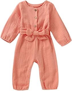 Toddler Baby Girls Bowknot Belt Romper Bodysuit Ruffled Sleeveless Jumpsuit