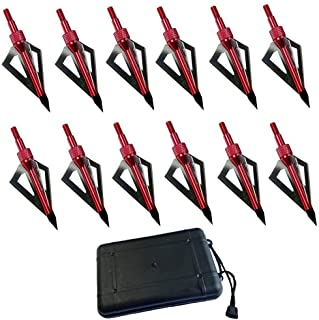 FOUUA Hunting Broadheads, 12Pack 3 Blades Crossbow Broadheads, 100 Grain Archery Broadheads for Crossbow and Compound Bow ...