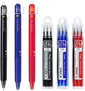 Pilot FriXion Ball Knock Retractable Erasable Gel Ink Pens, Extra Fine Point 0.5mm, Black/Blue/Red Ink, 3 Pens & 9 Refills Value Set