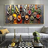 Kitchen Theme Herbs and Spices for Cooking Canvas Art Posters and Prints Canvas Paintings on The Wall Art Pictures Cuadros Decor 35x70 CM (sin marco)