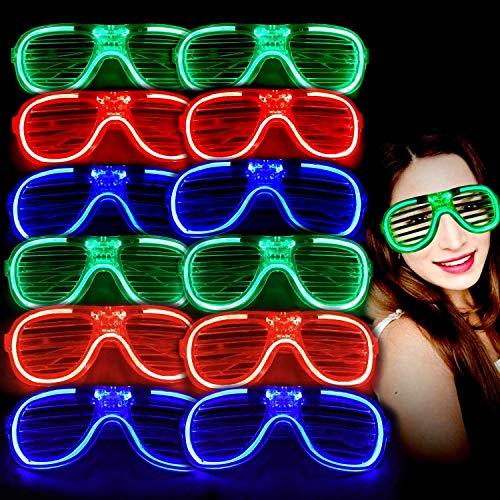 MuLucky Unisex Fashion Plastic Glow Licht LED leuchten Schattierungen Spielzeug Gläser Party Favors Supplies Set von 12 (B Style)
