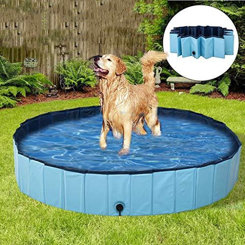 RUNNG PVC-faltbares Hunde Pool, Folding Badewanne, Schwimmen Sommer House, zusammenklappbarer Pet Spa, für Kinder Haustiere Hunde Katzen, Außen Schwimmen Spielen Teich, Blau