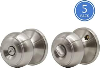 5 Pack Bathroom Door Lock Bedroom Privacy Knob, Interior Door Knobs with Removable Plate for Doors with Round Plate, Brushed Nickel Door Lock Sets, Locked Inside with Turn-Thumb