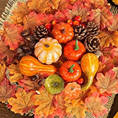 """Value Package Included - 8 x fake mini pumpkin (various styles), 150 x fake maple leaf (3 styles), 10 x acorn, 10 x mini pomegranate, 4 x pine cone, meet all your thanksgiving table decorating needs. Perfect Mini Size - Fake foam pumpkins (2''-2.8"""" i..."""
