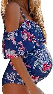 GRIPY Maternity Swimsuit Tankini Plus Size Two Piece Pregnant Swimwear For Women Sexy Print One-Shoulder Ruffle One-Piece Bikini Pregnant Swimwear