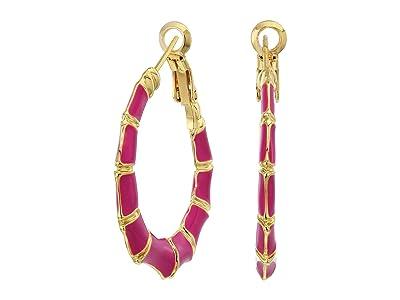 SHASHI Bamboo Hoop Earrings (Gold/Fuchsia) Earring