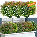 GETYARD 12 Bundles Outdoor Artificial Flowers, Real Touch Fake Baby's Breath UV Resistant No Fade Faux Plastic Plants for Garden Patio Porch Window Box Home Wedding Décor (Mix Color)
