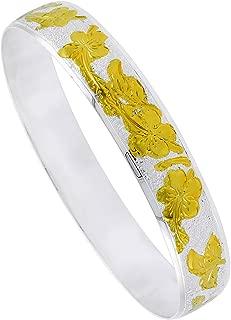 Sterling Silver Hawaiian Bangle Bracelet 2 Tone, fits up to 8 inch Wrists
