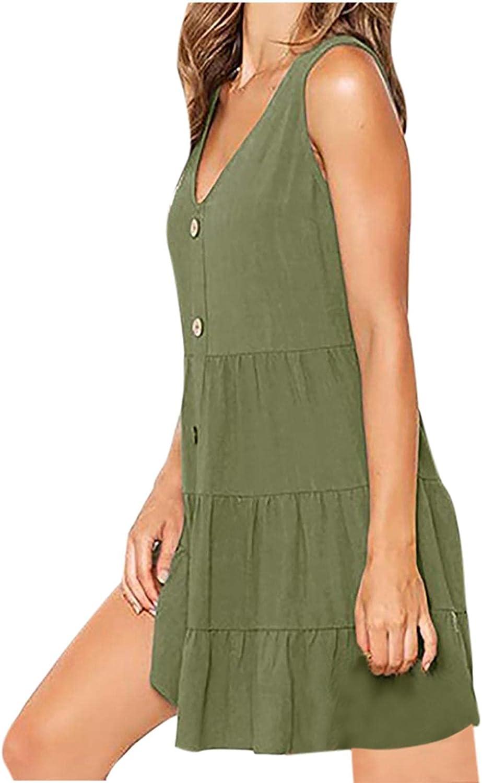 Summer Casual Dress for Womens Sleeveless V Neck Button Down Tank Dress Pocket Swing Mini Dress
