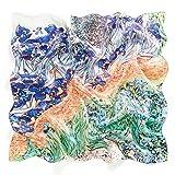 prettystern 50cm Fulare bufanda Bandana de seda Las impresiones de obras de arte van Gogh Iris azul verde P246
