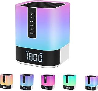 WamGra Nachttischlampe Touch Dimmbar,Lichtwecker,Bluetooth Lautsprecher mit Licht,Multifunktionale Tragbare Dimmbare RGB Nachttischlampe Kinder,MP3-Player,Geschenke für Frauen Männer Mädchen Junge