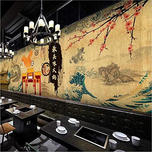 Zybnb Foto Japanische Zeichentrickfilm-Figur-Tapete Japanisches Art-Restaurant Retro, Das Heißen Topfgrill-Tapetenwandbild Errichtet