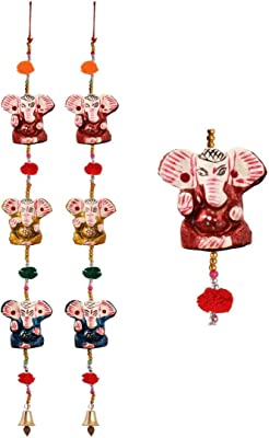 Handicrafts Paradise Door Hanging Pair of 3 Paper Machie Ganesh with Pumpum