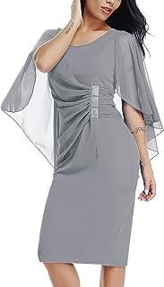 b927f51a865 Lalagen Womens Chiffon Plus Size Ruffle Flattering Cape Sleeve Bodycon Party  Pencil Dress S-XXXL