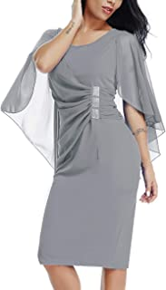 LALAGEN Womens Chiffon Plus Size Ruffle Flattering Cape Sleeve Bodycon Party Pencil Dress S-XXXL