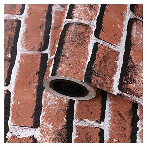 AXROAD MALL Vintage Antifouling rotbrauner Ziegelstein-Wand-Aufkleber Selbstklebende Tapete Dekorative for Couchtisch Schreibtisch und Stuhl Wohnkultur (Color : 2 red Brick Pattern)