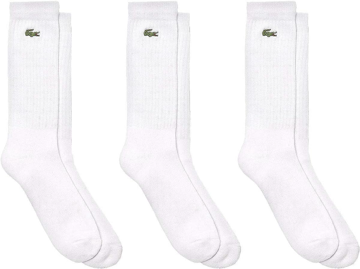 Lacoste Men's 3 Pack Logo Socks, White