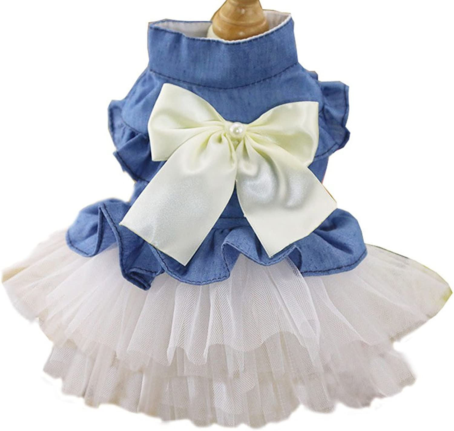 BBEART Pet Clothes, Sweet Bowknot Small Dog Skirt Girl Tutu Clothing Puppy Cat Sleeveless Apparel Teddy Clothes Harness Wedding Dresses for Spring and Summer (XS, White)