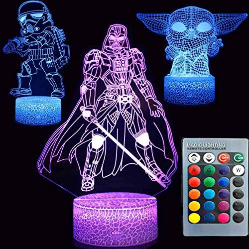 Star Wars Night Lights 3D Lámpara nocturna de ilusión de 16 colores cambiantes lámpara de decoración de mesa con control remoto y toque inteligente, regalos para niños