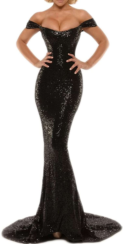 Mordarli Women's Off Shoulder Sequined Prom Dress Long Mermaid Evening Gown