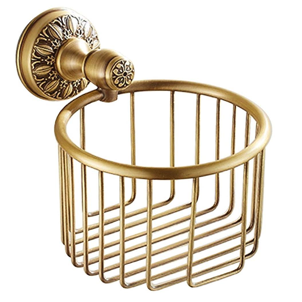 予防接種うれしい減衰ZZLX 紙タオルホルダー、ヨーロッパスタイルのフル銅模倣アンティークバスルームトイレットペーパータオルホルダー ロングハンドル風呂ブラシ