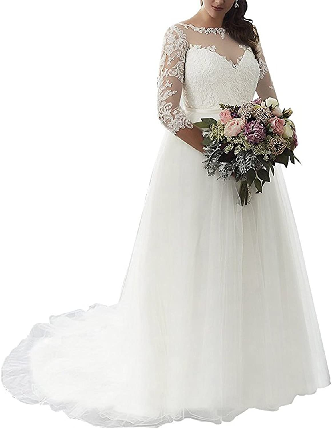 Beauty Bridal Women's Lace Applique Bride Gown with Three Quarter Sleeve Wedding Dresses L059
