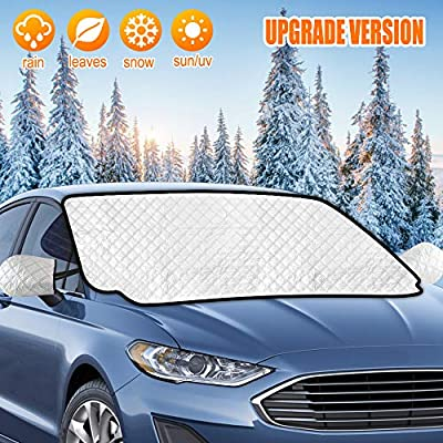 AURELIO TECH Magnetic Car Windshield Snow Cover, Windshield Cover for Ice and Snow, 4 Layers Protection, with Mirror Covers, Extra Large, Fits Most Cars, SUVs, Minivans