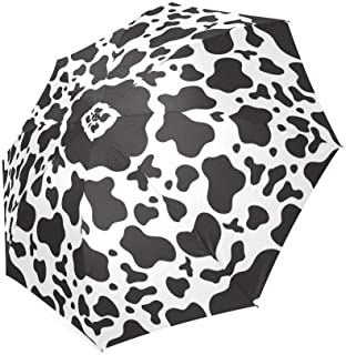 Black and White Cow Print Folding Compact Sun/Rain Umbrella, Foldable Rain Travel Umbrella UV Protected,99% UV Protection