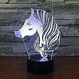Unicornio de dibujos animados en 3D Luz de noche de 7 colores led Habitación de...