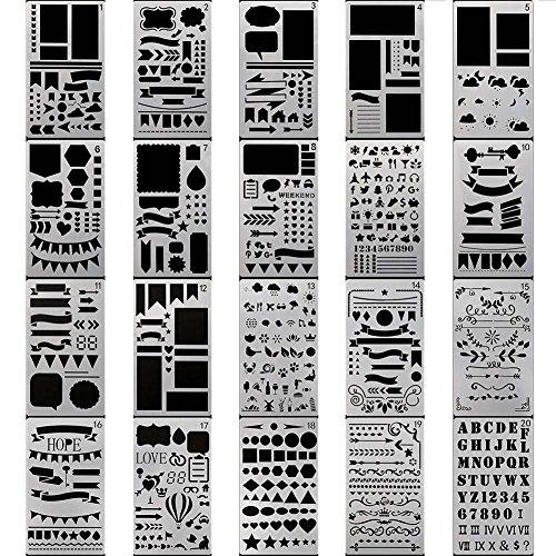 Sfghouse - Stampi per pittura, confezione da 20pezzi per oltre 1000diversi modelli tra cui lettere, per decorazione agenda, scrapbooking e lavori fai da te 20PCS