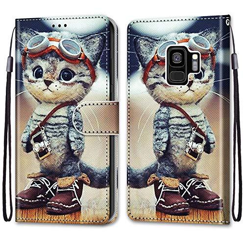 Nadoli Handyhülle Leder für Samsung Galaxy S9 Plus,Bunt Bemalt Lustig Leder Schuhe Katze Trageschlaufe Kartenfach Magnet Ständer Schutzhülle Brieftasche Ledertasche Tasche Etui