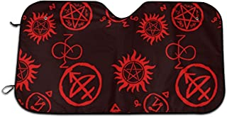 Supernatural Symbols Red Windshield Sun Shade Car Windows UV Ray Reflector Outdoor Vehicle Accessories
