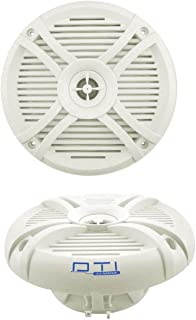 "DTI DS65MR 6-1/2"" 220 Watts Max Power 2-Way Marine Boat Water Resistant High Power Audio Stereo Coaxial Speaker System (White)"