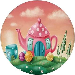 Round Rug Mat Carpet,Fantasy House Decor,Fantasy Teapot and Teacup Houses Wonderland Meadow Teatime Happiness Artwork,Pink Green,Flannel Microfiber Non-slip Soft Absorbent,for Kitchen Floor Bathroom