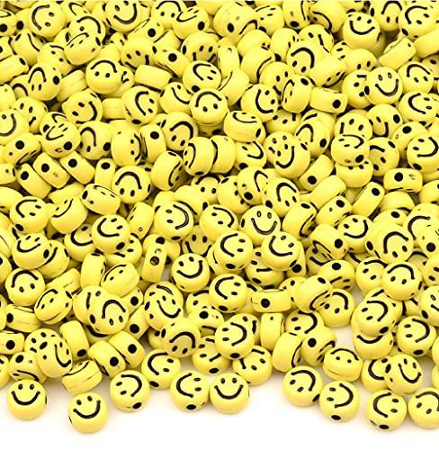 Sadingo Cuentas de color amarillo, 7 mm, 90 unidades, para hacer pulseras de cuentas, cuentas para manualidades, perlas de plástico, perlas de plástico