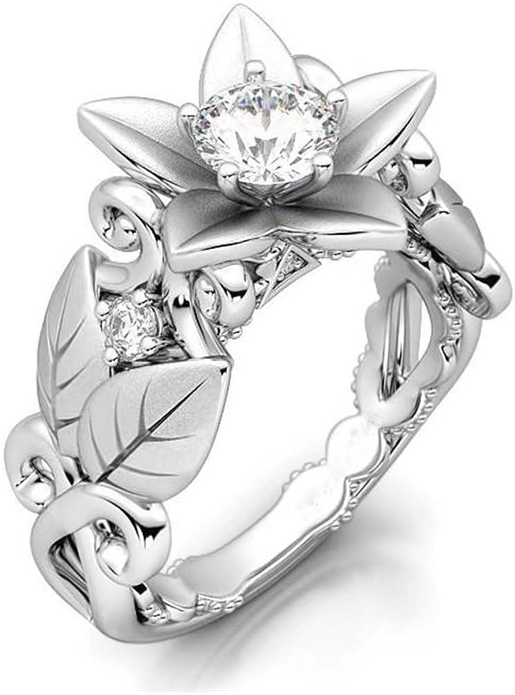 FENDINA Vintage Inspired CZ Engagement Wedding Max 75% OFF favorite Flower Lotus Ring