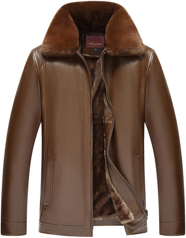 Mens Winter Coats,Men's Winter Fur Collar Removable Pure color Imitation Leather Coat Windbreakers,Coats for Men