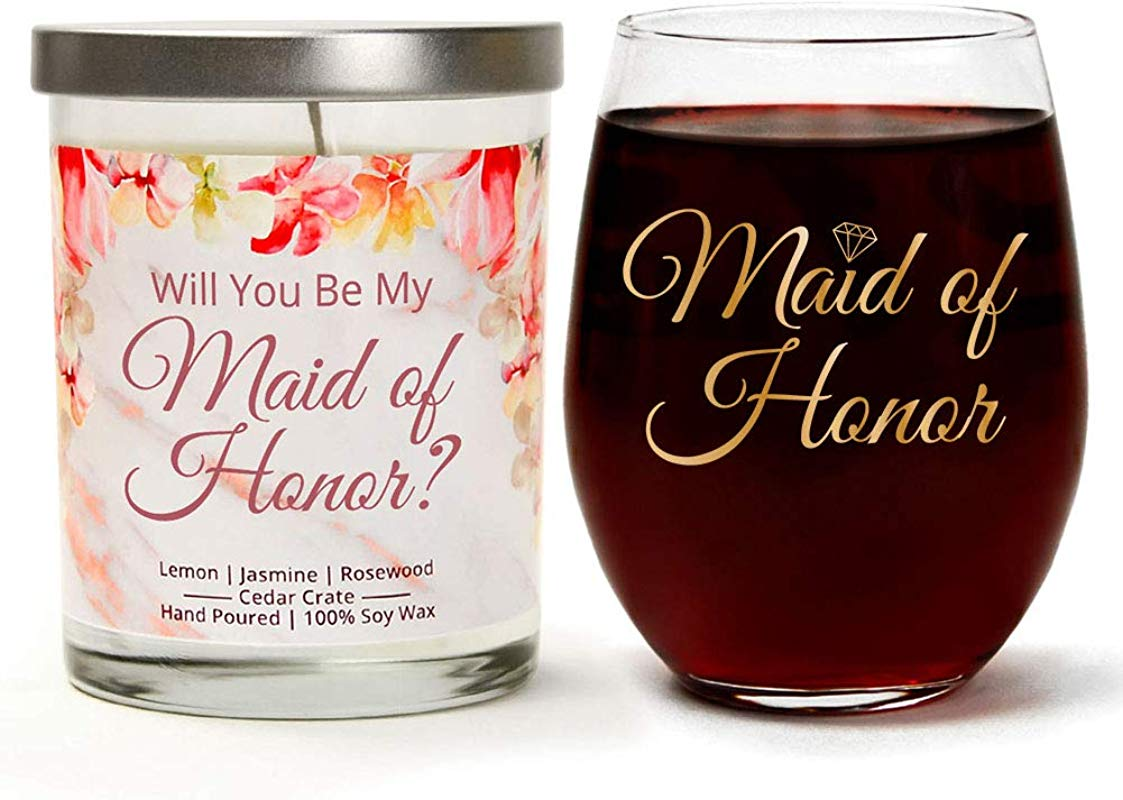 Will You Be My Maid Of Honor Wedding Gift Set Metallic Gold Cute Stemless 15oz Wine Glass Luxury Scented 10 Oz Soy Candle Unique Gift For Bachelorette Parties Bridal Showers Bride To Be
