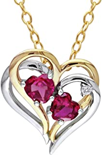 Created Ruby Heart Pendant Necklace 1.20 Carat (ctw) with Diamonds in Yellow Plated Sterling Silver with chain