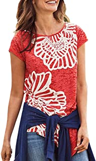 Remanlly Women Summer Floral Printing Shirt Cold Shoulder Casual Tops Blouse Floral Tops Short Sleeve O Neck blouses Casual Loose T Shirts