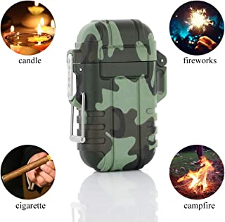 Dual Arc Plasma Lighter Waterproof Outdoor USB Rechargeable Electric Lighter Flameless Windproof for Survival Camping Hiking BBQ (Camouflage)
