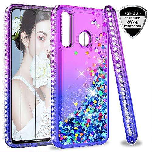 LeYi Custodia Huawei P30 Lite Glitter Cover con Vetro Temperato [2 Pack],Brillantini Diamond Silicone Sabbie Mobili Bumper Case per Custodie Huawei P30 Lite /P30 Lite New Edition Purple Blue Gradient